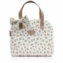 Landhaus stílusú táska virágokkal , Táska, Bőrművesség, Varrás, Vidám és könnyed lett ez a táska :)  Formájával igyekeztem követni az elkezdett vonalat, azonban mé..., Meska