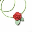 Piros rózsa nyaklánc- virág valódi bőrből-akció -50%, Ékszer, óra, Medál, Nyaklánc, Bőrművesség, Ékszerkészítés, Egy különleges nyaklánc egy szolid,  bőrből készült pici piros rózsával.A virágot két zöld levélke i..., Meska