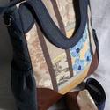 JULISKA Tatyó / kék orhideás, Táska, Ruha, divat, cipő, Válltáska, oldaltáska, Laptoptáska, Hímzés, Varrás, JULISKA fantázianévre keresztelt, egyedileg kombinált textíliák, farner, és hozzá harmonizáló műbőr..., Meska