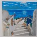 Görög hangulat - Festmény , Dekoráció, Képzőművészet, Festmény, Akril, Festészet, Ezen a festményen egy kis görög hangulatú utcát festettem, mely a sikátoros lépcsőkön keresztül a t..., Meska