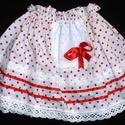 Kislány szoknya, Baba-mama-gyerek, Ruha, divat, cipő, Gyerekruha, Varrás, Pörgős kislány szoknya, fehér alapon virág mintával, szalaggal, csipkével és kis köténykével az ele..., Meska