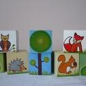 Erdei állatok, Baba-mama-gyerek, Dekoráció, Játék, Fajáték, Festett tárgyak, Festészet, A készlet 8 db 4x4 cm -es kockából áll.  Akrilfestékkel festettem és lakkoztam őket. , Meska