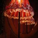 Szalagos asztali lámpa, Otthon, lakberendezés, Lámpa, Asztali lámpa, Lakástextil, Mindenmás, Egyedi, elegáns asztali lámpa.   Mérete: lámpabúra váz (újrahasznositott) átmérője 12-24 cm, magass..., Meska