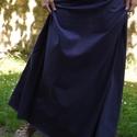 Hosszú fekete szoknya, Ruha, divat, cipő, Női ruha, Szoknya, Varrás, Kétféle rugamas pamut anyagból készült a szoknya. Alja szegetlen. A vonalú szabással, gumis derékka..., Meska