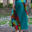 Virágos harangszoknya, Ruha, divat, cipő, Női ruha, Szoknya, Varrás, Szoknya kétféle 100% pamut (indiai) anyagból. Harangszabású csípőszoknya cipzárral.  Rendelésre kés..., Meska