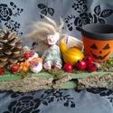 Koboldos, halloween asztaldísz, Dekoráció, Otthon, lakberendezés, Dísz, Gyertya, mécses, gyertyatartó, Virágkötés, Mindenmás, Halloween asztaldísz,kobolddal (saját készítés) ...termésekkel kis farekeszben (saját készítésű)......, Meska