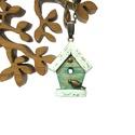 Madárház nyaklánc, Ékszer, óra, Nyaklánc, Ékszerkészítés, Aprócska, kézzel fűrészelt, rusztikusan kopott tetejű, zöld madárház, antik stílusú láncra fűzve.  ..., Meska