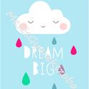 Keretezett felhős falikép / babaszoba dekoráció A4-es méretben, Dekoráció, Baba-mama-gyerek, Gyerekszoba, Baba falikép, Ez a vektorgrafikával készült színes felhős kép, tökéletes dekoráció lehet baba - és gyerekszoba fal..., Meska