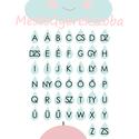 Felhős ABC falikép / babaszoba dekoráció fehér képkerettel, A4-es méretben, Baba-mama-gyerek, Gyerekszoba, Baba falikép, Baba-mama kellék, Ez a vektorgrafikával készült ABC-s kép, tökéletes dekoráció lehet baba - és gyerekszoba falára, pol..., Meska