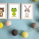Keretezett vidám állatkás falikép sorozat / babaszoba dekoráció (3 db) 20x30-as méretben, Dekoráció, Baba-mama-gyerek, Gyerekszoba, Baba falikép, Ez a vektorgrafikával készült színes, 3 db-os állatkás képsorozat, tökéletes dekoráció lehet baba - ..., Meska