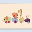 Vonatos állatkás keretezett falikép / babaszoba dekoráció 20x30 cm-es méretben, Baba-mama-gyerek, Dekoráció, Gyerekszoba, Baba falikép, Ez a vektorgrafikával készült vonatos kép, tökéletes dekoráció lehet baba - és gyerekszoba falára, p..., Meska