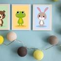Keretezett színes állatkás falikép sorozat / babaszoba dekoráció (3 db) 20x30-as méretben, Dekoráció, Baba-mama-gyerek, Gyerekszoba, Baba falikép, Ez a vektorgrafikával készült színes, 3 db-os állatkás képsorozat, tökéletes dekoráció lehet baba - ..., Meska