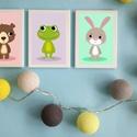 Keretezett színes állatkás falikép sorozat / babaszoba dekoráció (3 db) 20x30-as méretben, Baba-mama-gyerek, Gyerekszoba, Baba falikép, Baba-mama kellék, Ez a vektorgrafikával készült színes, 3 db-os állatkás képsorozat, tökéletes dekoráció lehet baba - ..., Meska