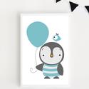Pingvines lufis keretezett falikép / babaszoba dekoráció 20x30 cm-es méretben, Baba-mama-gyerek, Baba-mama kellék, Gyerekszoba, Baba falikép, Fotó, grafika, rajz, illusztráció, Ez a vektorgrafikával készült pingvines kép, tökéletes dekoráció lehet baba - és gyerekszoba falára..., Meska