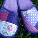 Patchwork szobapapucs vendégpapucs, Ruha, divat, cipő, Cipő, papucs, Patchwork, foltvarrás, Varrás, Egymáshoz harmonizáló színekből készült patchwork szoba vagy vendégpapucs. Belseje puha well soft ...., Meska
