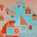 Gyermek falvédő (70x200) Türkiz-narancs, Baba-mama-gyerek, Gyerekszoba, Falvédő, takaró, Falvédő, Varrás, Egyedi gyermekfalvédő (kb. 70x200 cm) pamutvászon, vatelin betéttel, tűzéses technikával. Színvilág..., Meska