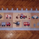patchwork falvédő, Baba-mama-gyerek, Otthon, lakberendezés, Gyerekszoba, Falvédő, takaró, Varrás, fotlvarrás technikával készítettem ezt a  járműves falvédőt, mérete 68x 190cm 3 rétegű, a hátoldala..., Meska