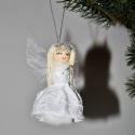 Hótündér, Karácsonyi, adventi apróságok, Karácsonyi dekoráció, Karácsonyfadísz, Mindenmás, Virágkötés, Hófehér tündérke csillámporral dekorálva.Nyakában pici sál, kezében csillámló varázspálca van.Teste..., Meska