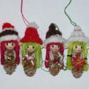 Karácsonyi manók, Dekoráció, Karácsonyi, adventi apróságok, Karácsonyfadísz, Karácsonyi dekoráció, Mindenmás, Virágkötés, Négy pici egyedi manó alkotja a kollekciót, melyeket saját ötletem alapján készítettem.Az egyik cuk..., Meska