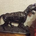Tigris , Képzőművészet, Szobor, Fém, Fémmegmunkálás, Újrahasznosított alapanyagból készült termékek, Szobrom fémhulladékból , fémalkatrészek illetve vasból, kovácsoltvasból egyedi tervem alapján készü..., Meska