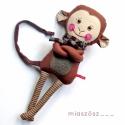 Mirkó, csíkos harisnyás majmocska, Játék, Baba-mama-gyerek, Plüssállat, rongyjáték, Játékfigura, Varrás, Baba-és bábkészítés, Pamut anyagokból varrtam ezt a jókedvű majmot, saját dizájn alapján.  Minden apró részlet alapos go..., Meska