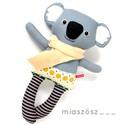 Nóz, csíkos harisnyás koala - szürke, antracit, mustársárga, világoskék, Játék, Baba-mama-gyerek, Plüssállat, rongyjáték, Játékfigura, Varrás, Baba-és bábkészítés, Pamut anyagokból varrtam ezt a jókedvű koalát, saját dizájn alapján.  Minden apró részlet alapos go..., Meska