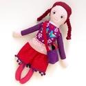 Ribiszke - öltöztethető Miaszösz nagylány, Játék, Baba-mama-gyerek, Baba, babaház, Játékfigura, Varrás, Baba-és bábkészítés, Színvilágban egymással harmonizáló pamut anyagokból varrtam ezt a nagylányos babát, saját dizájn al..., Meska