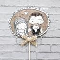 Egyedi esküvői tortadekor, Dekoráció, Konyhafelszerelés, Ünnepi dekoráció, Fotó, grafika, rajz, illusztráció, A Ti fotótok alapján készítem ezt az egyedi tortadekort, ami különleges dísze lehet az esküvői tort..., Meska