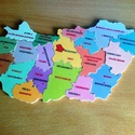 Fából készült puzzle, Baba-mama-gyerek, Játék, Készségfejlesztő játék, Fajáték, Famegmunkálás, Mindenmás, 6 mm rétegelt lemezből készült Magyar ország megyéi puzzle. Felülete laminált . Méretei:kb 28x16 cm..., Meska