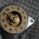 Steampunk övcsat, Ruha, divat, cipő, Férfiaknak, Ékszer, óra, Öv, Újrahasznosított alapanyagból készült termékek, Régi óra alkatrészekből készült forrasztással, nagyjából 6 cm x 7,5 cm. Igény szerint barna vagy fe..., Meska