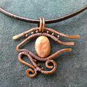 Hórusz Szeme Amulett- natúr valódi jáspis, antikolt vörösrézzel, Ékszer, óra, Medál, Nyaklánc, Ékszerkészítés, Fémmegmunkálás, Hórusz Szeme a sebezhetetlenség és az egészség jelképe.  Vörösréz, antikolt ékszerhuzalból, gyönyör..., Meska