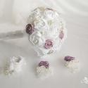 Mályva, lila, rózsaszín esküvői, menyasszonyi csokor, Esküvő, Esküvői csokor, Esküvői dekoráció, Hajdísz, ruhadísz, Gyöngyfűzés, Virágkötés, Agnes kollekció  Ez a kollekció tartalmaz egy menyasszonyi csokrot, egy vőlegény és 2 tanú bokrétát..., Meska