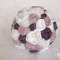 Juliette menyasszonyi csokor, Esküvő, Dekoráció, Esküvői csokor, Virágkötés, Menyasszonyi csokor neve: Juliette  A csokor sok kézzel készített virágból áll, melyek csipkéből, s..., Meska
