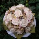 Nosztalgia-csokor, Esküvő, Esküvői csokor, Virágkötés, Ezeket a rózsákat csak megérintette a rózsaszín...a hortenzia egészíti ki ezt a visszafogott,romant..., Meska
