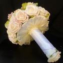 Michelle -barackszínű menyasszonyi csokor, Esküvő, Esküvői csokor, Hajdísz, ruhadísz, Virágkötés, Nagyon finom színárnyalatok-rózsa,hortenzia,boglárka-igazi elegánsan vidám menyasszonyi csokor. Szé..., Meska