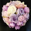 Lilarosa csokor, Baba-mama-gyerek, Esküvő, Esküvői csokor, Virágkötés, Ez a csokor elkelt,de szívesen elkészítem Neked is,ha tetszik.  Habrózsából és selyem virágból kész..., Meska