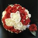 """Piros pöttyös gyöngyös csokor, Esküvő, Esküvői csokor, Virágkötés, Piros és fehér habrózsából kötöttem ezt az ,,örökzöld""""csokrot.A vissza-visszatérő,vidáman elegáns k..., Meska"""