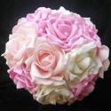 Pink-rózsaszín-fehér menyasszonyi csokor, Esküvő, Esküvői csokor, Virágkötés, Pink,rózsaszín és fehér habrózsából kötöttem ezt a csokrot.A csokortartója selyemmel van bevonva,or..., Meska