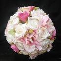 Rózsaszín álom menyasszonyi csokor, Baba-mama-gyerek, Esküvő, Esküvői csokor, Virágkötés, Szinte akvarell festmény hatását keltik ezek a szép,színátmenetes rózsasz?nű virágok.Rózsák meganny..., Meska