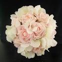 Habrózsa hortenzia menyasszonyi csokor , Esküvő, Esküvői csokor, Virágkötés, Rózsaszín habrózsából és élethű selyemvirág hortenziából kötöttem ezt a kedves,finom árnyalatú csok..., Meska