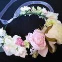 Tündéri koszorú menyasszonynak,kislánynak, Baba-mama-gyerek, Esküvő, Esküvői csokor, Hajdísz, ruhadísz, Virágkötés, Sok sok pasztellszínű virágból készült ez a dús koszorú,hajpánt. Az ív hossza 30 cm,de kérheted saj..., Meska