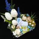 Babalátogatás 1, Baba-mama-gyerek, Esküvő, Dekoráció, Virágkötés, Babalátogatás alkalmára kész?tettem ezt a tartós virágdísz. Dobozt erős?tettem maszkoló szalaggal,b..., Meska
