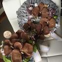 Orchidea hortenzia barna szürke kopogtató ajtódísz asztali dísz szett, Dekoráció, Virágkötés, Szürke 30 cm-es vesszőalapra készült barna-zöld hortenzia és barna orchidea applikálásával ez a mes..., Meska