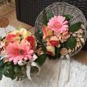 Rózsaszín rózsa-hortenzia-gerbera vintage ajtódísz kopogtató , Dekoráció, Virágkötés, Kellemes rózsaszín-zöldes rózsából, hortenziából és gerberából készítettem kb 30 cm-es vessző alapr..., Meska