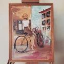"""""""Lány kerékpárral"""", Képzőművészet, Festmény, Akril, Festészet, Akril festmény feszített 40x30 cm vászonra, léckerettel.  K. Beatrix, Meska"""