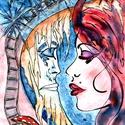 Hajnal , Képzőművészet, Festmény, Akvarell, Festmény vegyes technika, Festészet, A/4-es, ( 20 x 30 cm ) 150-es Canson akvarell lap, akvarell -filc. Címkék: festmény, akvarell, hang..., Meska