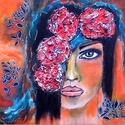 Trópusi lány , Képzőművészet, Festmény, Akril, Festmény vegyes technika, Festészet, 25 x 25 cm-es vászonfedett faroston akril festék,  ecset, 3 D paszta, marker, lakk felhasználásával..., Meska