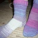Kényelmes,vidám kötött zokni 36-37-es méretben, Ruha, divat, cipő, Női ruha, Gyerekruha, Kamasz (10-14 év), Kötés, Kötött tarka zokni. Ezzel biztos nem leszel kétballábas. A színátmenetesre festett fonal adta lehet..., Meska