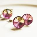 Vitrail light swarovski ékszerek, Ékszer, óra, Ékszerszett, Fülbevaló, Gyűrű, Ékszerkészítés, A kristály mérete 14mm. Alapszíne rózsaszín de látható hogy gyönyörűen irizál vagyis  visszaköszönn..., Meska