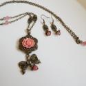 Romantikus álom , Ékszer, óra, Esküvő, Ékszerszett, Nyaklánc, Ékszerkészítés, Gyöngyfűzés, Gyönyörű szett nagy réz virág medállal, fáradt rózsaszín akril lótuszvirággal, cherry kvarc ásványg..., Meska